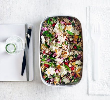 A simple, low-calorie, grain-free meal with roasted cauliflower, punchy feta and sweet pomegranate seedsthat can be prepared in advance - ideal for supper and packed lunch the next day