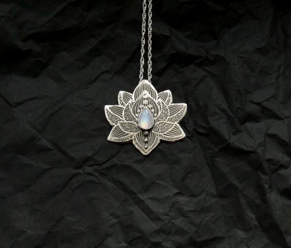 RESERVED for JULI Lotus Pendant Water Lily by spaceweaver on Etsy