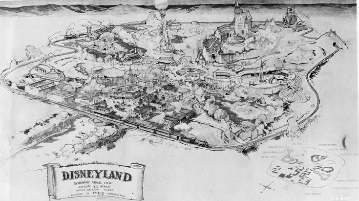 Herb Ryman's original pencil-drawn Disneyland map used by Walt Disney to present the park idea to bankers is one of the most important pieces in Disney history.