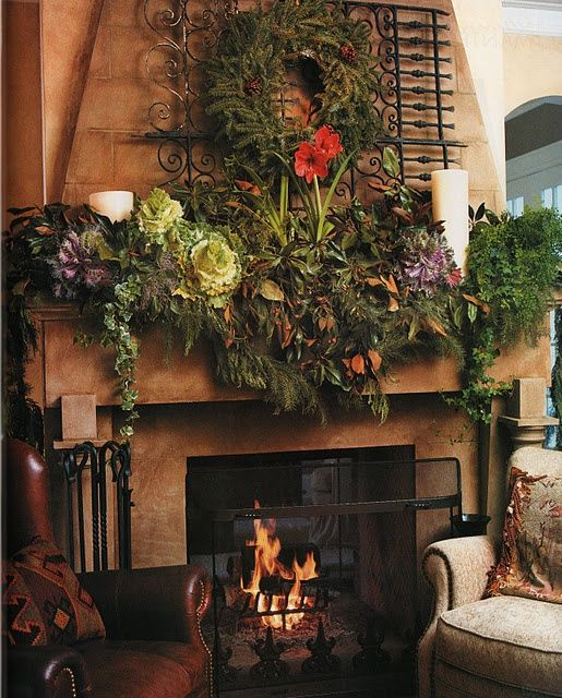 818 best christmas mantels images on pinterest for Images of fireplace mantels decorated for christmas