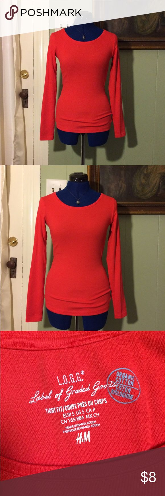 Bright red long sleeve top A bright off-red sleeve top. Very comfortable and stretchy. Has never been worn out, only tried on. It's just not my color! H&M brand, LOGG organic. Size small and true to size. H&M Tops Tees - Long Sleeve