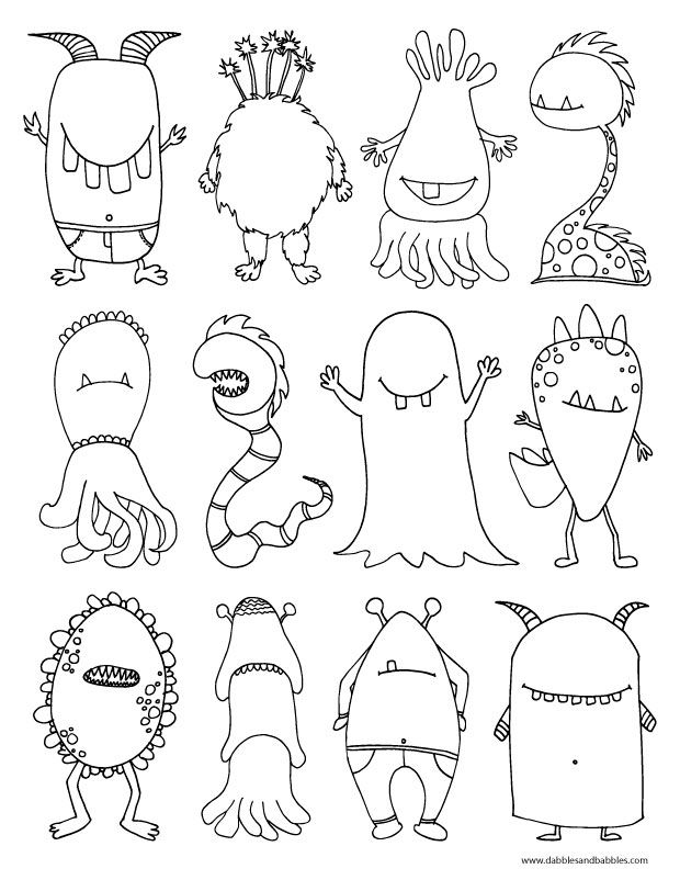 "A monster coloring page! Perfect to talk about the Halloween season and the ""monsters"" your child may encounter. Monsters are make-believe, of course!"