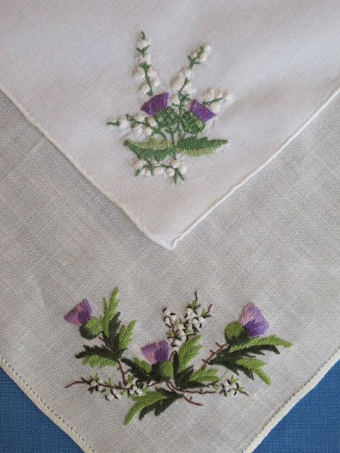 2 Embroidered Scottish Thistles Vintage Hankies