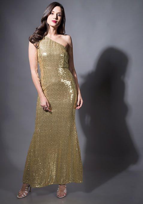 190c5938f Champagne Sequin Mermaid Maxi Dress  Fashion  FabAlley  PartyWear   WeddingWear  MaxiDress  Dress  Party  GoingOutAttire  GoingOutDresses