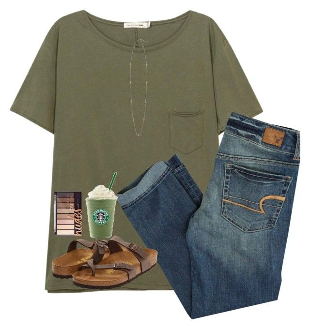 """rtd!!"" by nc-preppy-living ❤ liked on Polyvore featuring rag & bone/JEAN, American Eagle Outfitters, Kendra Scott and Birkenstock"