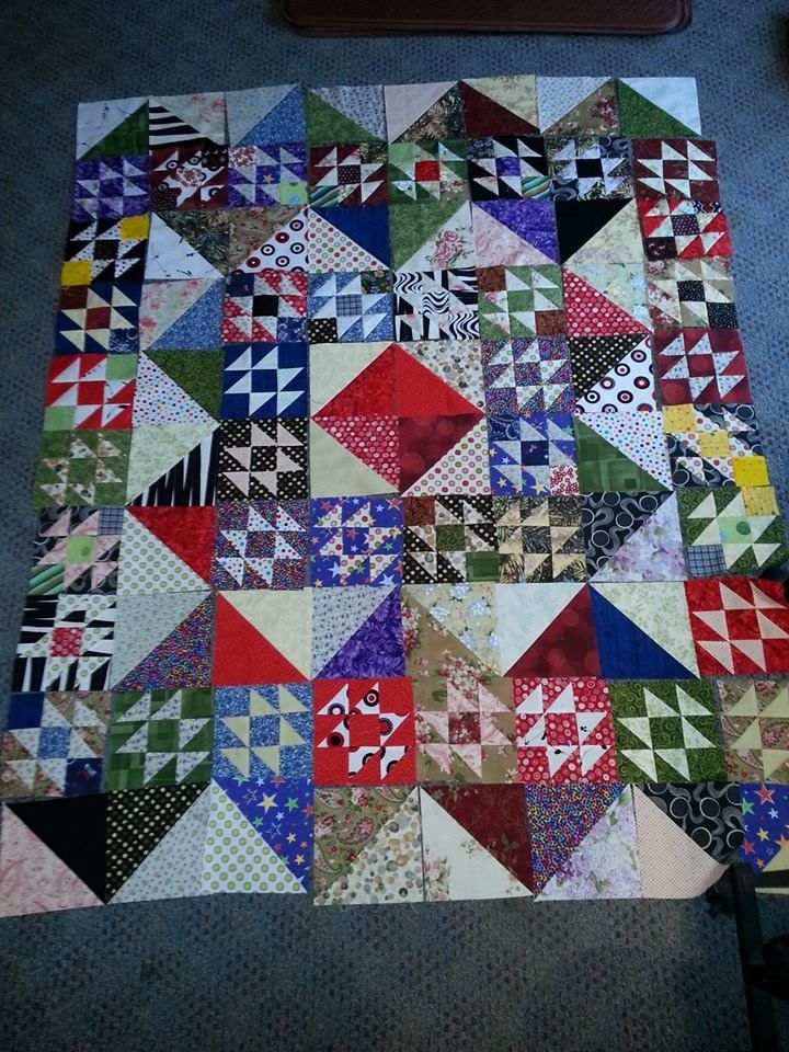 working on the orientation of the blocks of 2014 New Year's Day Merry Mayhem Mystery Quilt