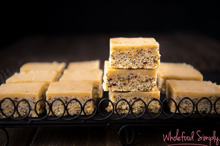 No bake Orange and Poppy Seed Slice. Simple, delicious and free from gluten, grains, dairy, egg, nuts and refined sugar. Enjoy.