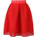 Choies Red Sheer Stripe Knee Length Skater Skirt