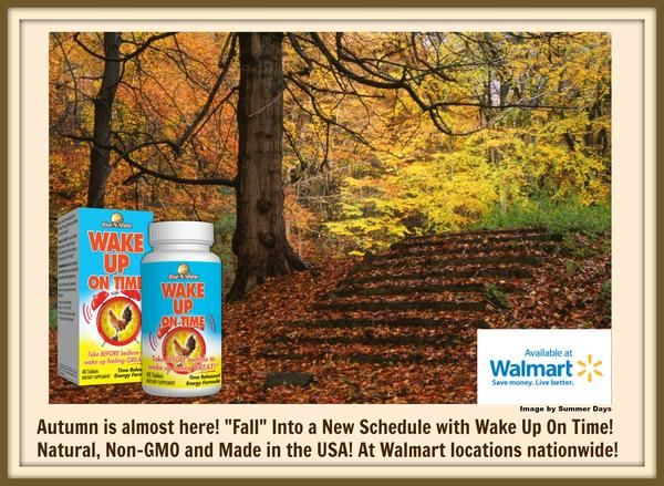 """Fall"" into a new schedule with Wake Up On Time! Wake Up On Time is the perfect way to transition into autumn, as the days get shorter. It's natural, non-GMO, made in the USA and available at Walmart locations nationwide! Read more about Wake Up On Time on our blog. #risenshine #wakeupontime #morning #awake #energy #vitamins #aminoacids #herbs #nutritionalsupplements #fall #autumn #autumnalequinox #equinox #clock #bodyclock #natural #nongmo #madeintheusa #madeinamerica #madeinusa #walmart"