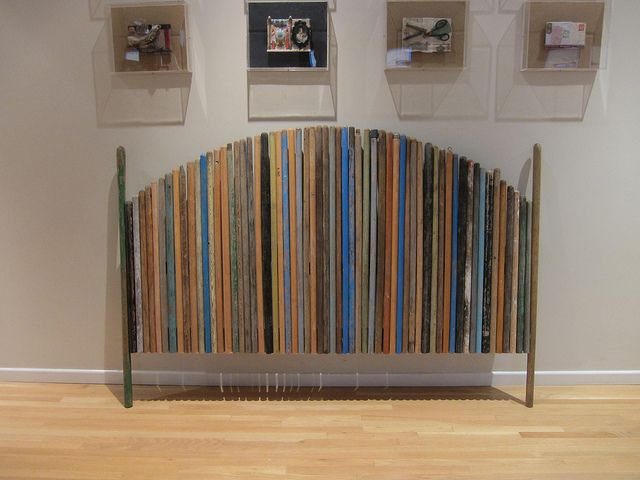It's the matching footboard that goes with a headboard made from....broom handles!   #recycled  #repurposed   #diy