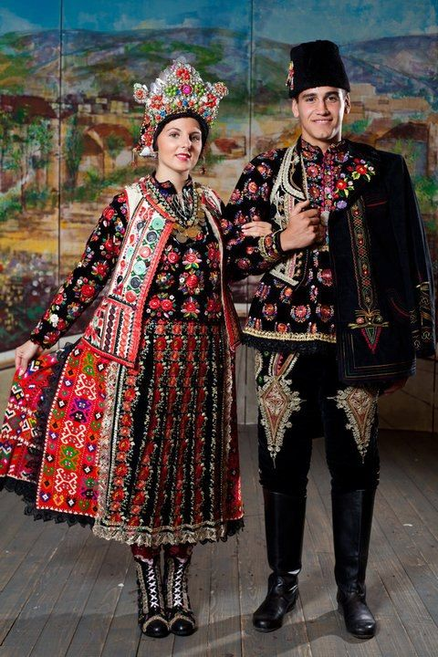 Europe | Portrait of a couple wearing traditional clothes, Osijek-Baranja, Croatia #embroidery