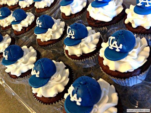 LA Dodgers Baseball Hat Cupcakes
