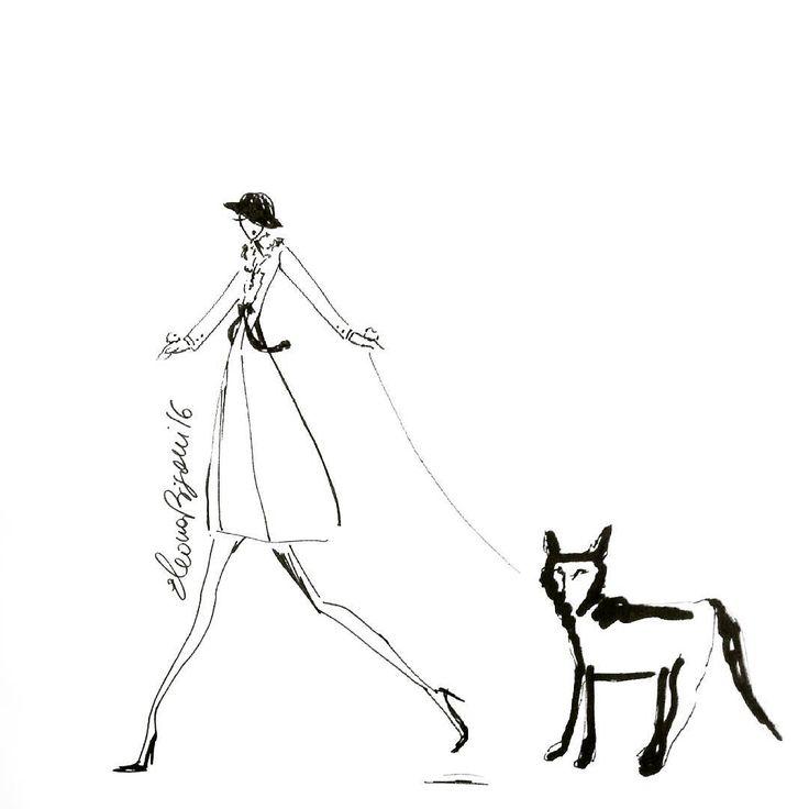 """Shopping with Liz! #casabignami #fashioninsta #fashionillustration #fashionblogger #illustration #art #artist #draw #ink #puppy #ilovemydog…"""
