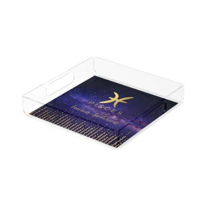 Pisces Zodiac Sign Acrylic Chic Perfume Tray - chic design idea diy elegant beautiful stylish modern exclusive trendy