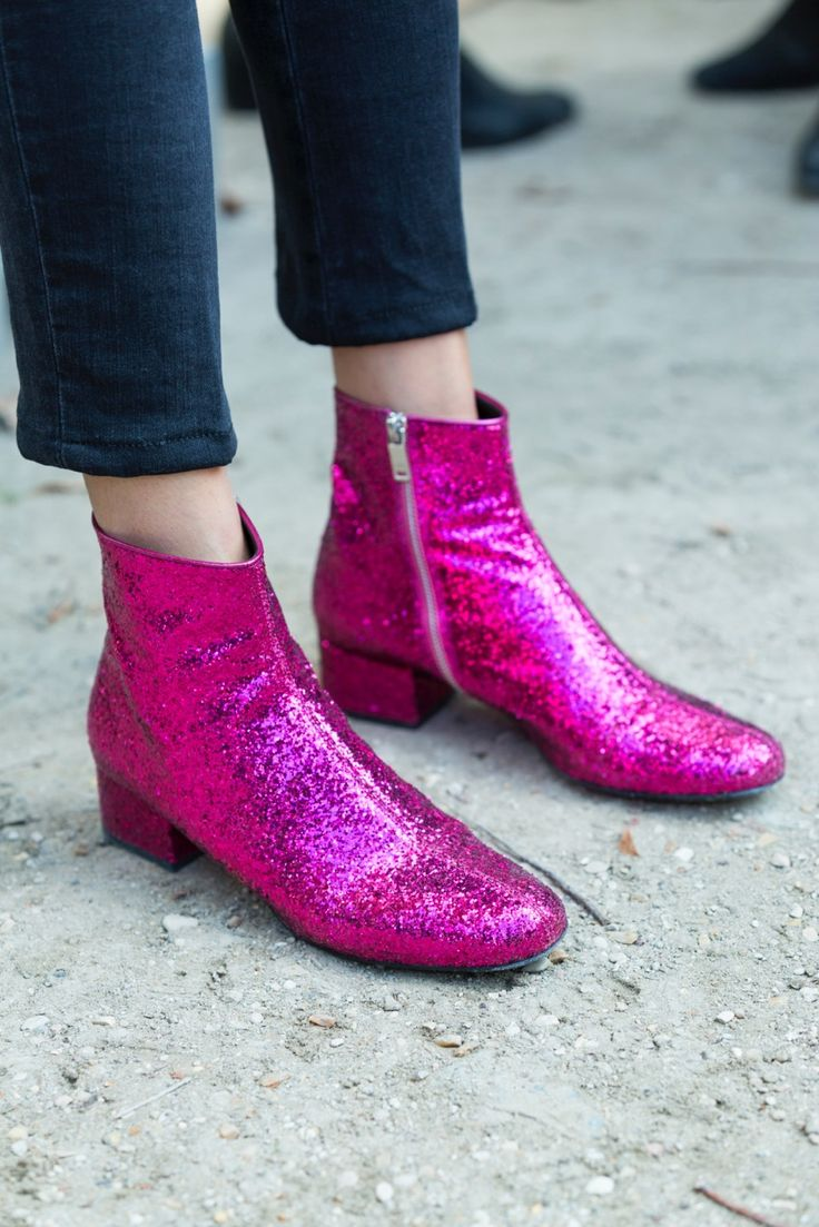 pink glitter boots from Saint Laurent