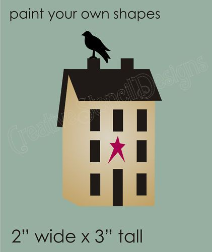 Stencil Primitive Saltbox House Crow Country home Signs