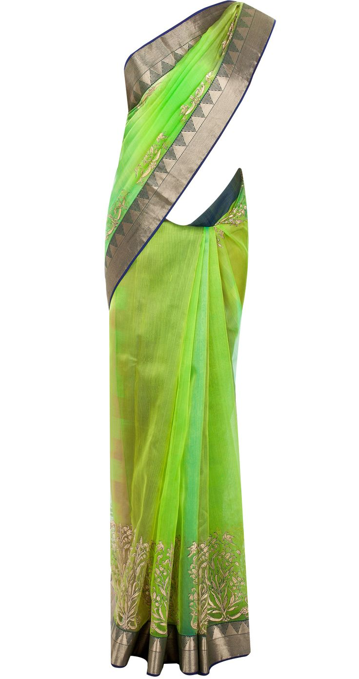 Green sari with gold motifs available only at Pernia's Pop-Up Shop.