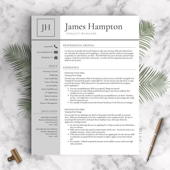 Professional Resume Template for Word  ✓ Instant Download Resume Template  ✓ US Letter and A4 CV Templates included  ✓ Mac & PC Compatible