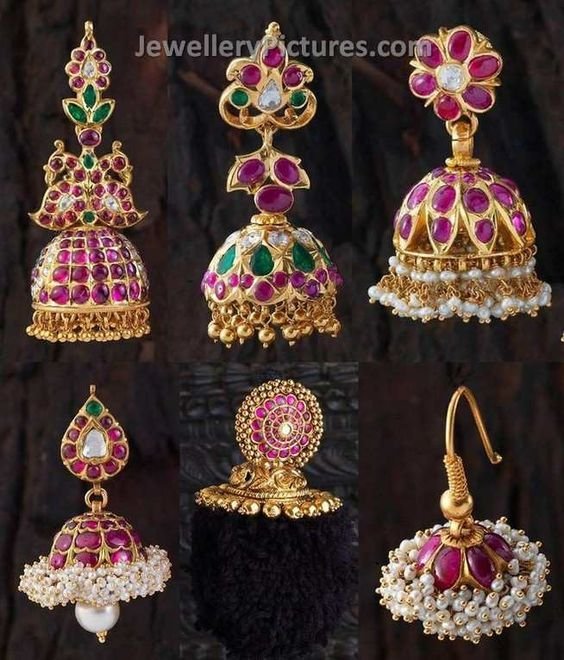 Six Awesome designs of Ruby jhumkas made with real rubies ,emeralds and flat diamonds. cute jumka designs will steal the hearts for sure. Very traditional looking earrings specially designed for south indian women. Credits : Creations Jewellery, Bangalore. Contact 099020 69225 for details about price Related PostsRuby Gold Necklace DesignsGold Earrings Buttalu Temple JewelryButtalu Designs Gold …