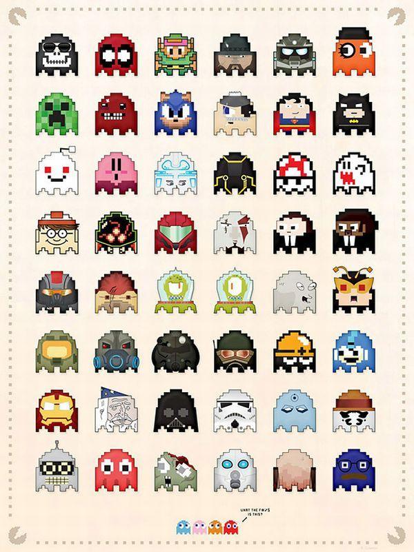 Iconic Characters as Pac-Man Ghosts - Geek cross stitch pattern anyone :)