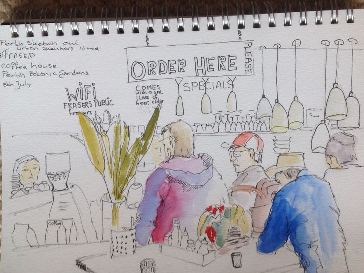 Sketching with Perth Urban Sketchers at Kings Park botanical gardens in Perth W.A. Too cold so we sketched in the cafe