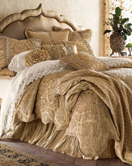 bedding looks like it's fluffy and comfy.