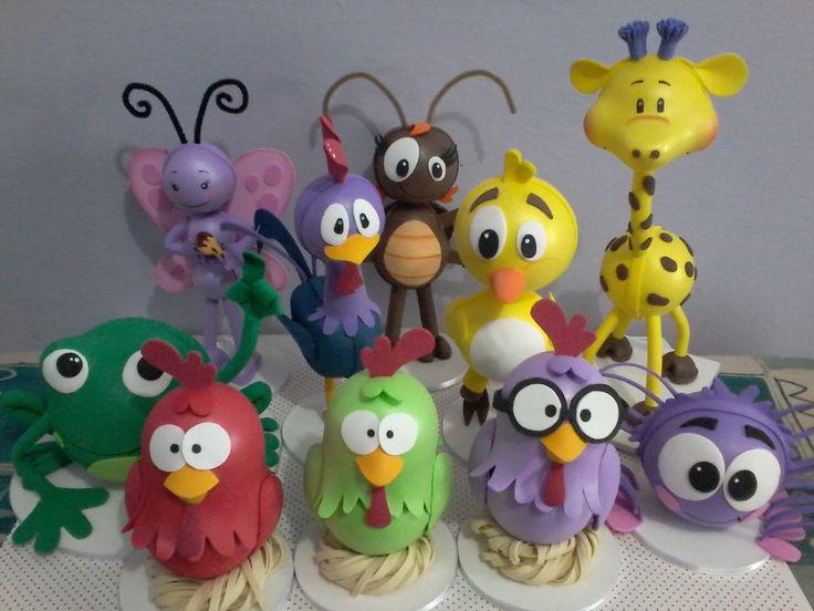Personagens amigos da galinha pintadinha em eva e isopor