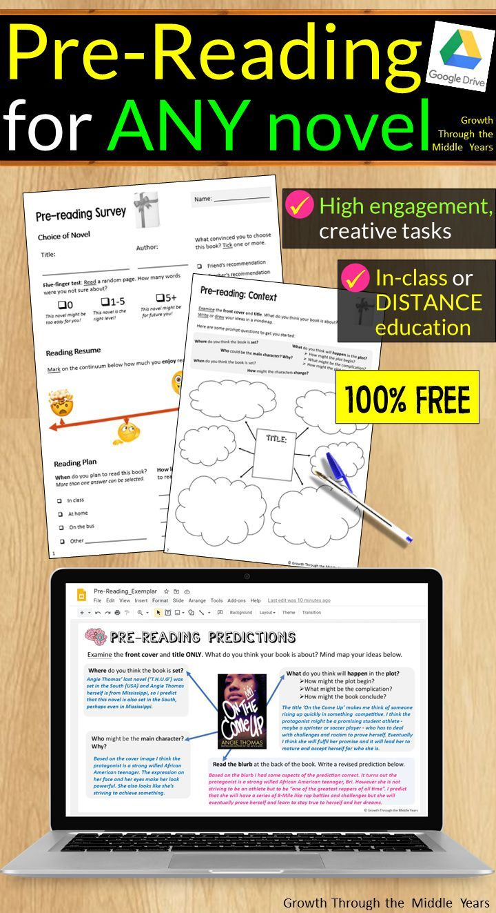 Free Pre Reading Activities For Any Novel Distance Learning Supported In 2021 Pre Reading Activities Reading Activities Middle School Reading What are some pre reading activities