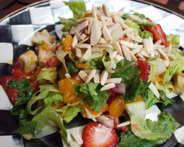 Strawberry, Orange & Almond Chicken Salad from Food.com: Romaine salad ...