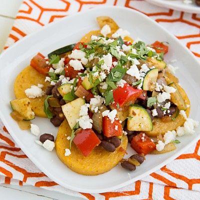 Oh my Veggies: viele vegetarische Gerichte, die wahnsinnig lecker klingen!! z.B. Mexican Baked Polenta with Salsa Beans & Sautéed Veggies Recipe
