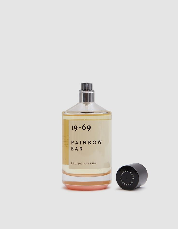 Rainbow Bar eau de parfum spray from 19-69. Warm, roguish scent with with base notes of nutmeg, clove, guaiac wood, vetiver, cedarwood, and chili pepper seeds, heart notes of sea breeze, fresh basilica, elémi, artémise, frappe berry and effluves of bourbo