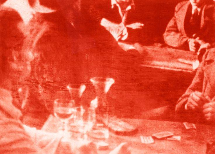Ola Billgren (Swedish, 1940-2001), Café, 2001. Photogravure printed in red…