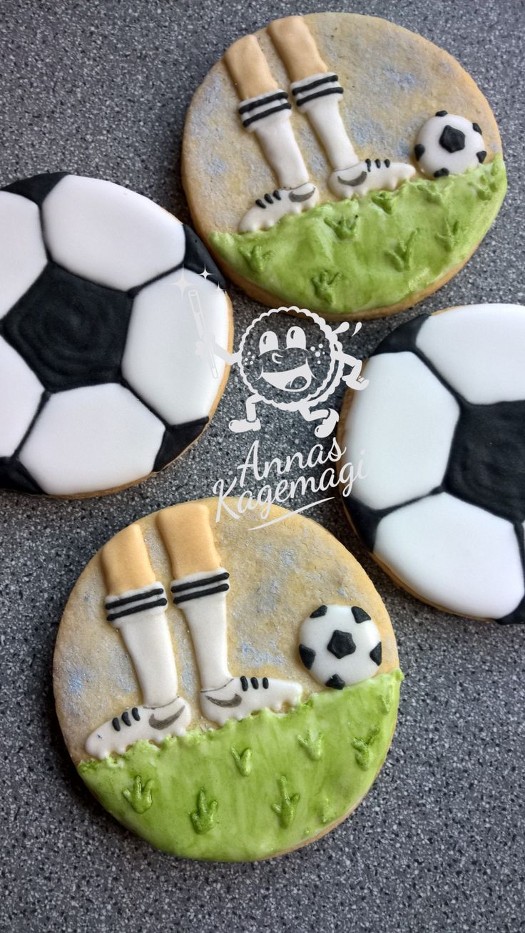 Soccer sugar cookies with royal icing