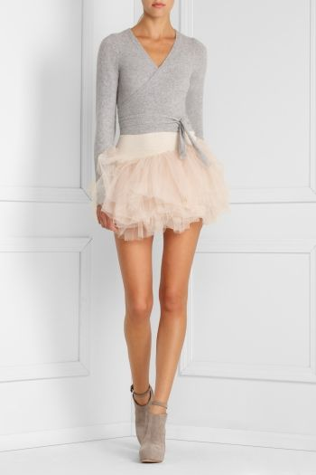 Non-maternity variation idea - make short sashes that get narrower at the tip to emulate a ballet sweater