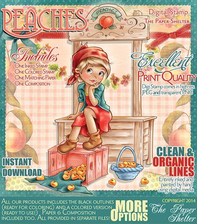 Peaches - Digital Stamp