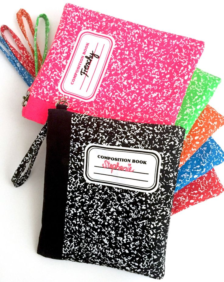 PERSONALIZED Composition Notebook Clutch Purse Wristlet by WonderThreadsSupply on Etsy https://www.etsy.com/listing/482472857/personalized-composition-notebook-clutch