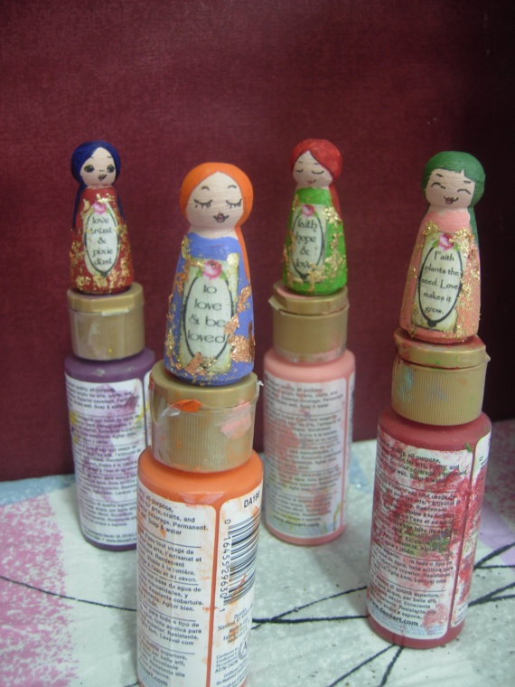 The Love Affirmation Mixed Media wooden art dolls  by eltsamp, $29.00