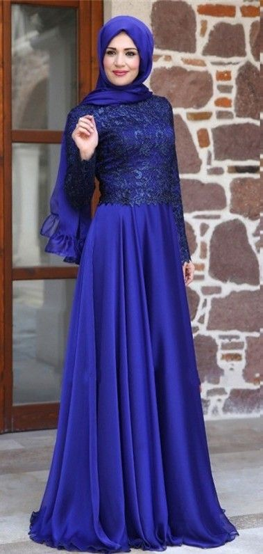 2016 Long Sleeves Evening Gowns Muslim Arabic Chiffon Formal Long Party Dresses