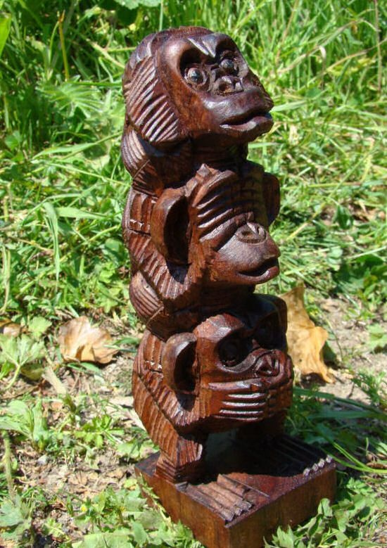 Fairtrade See Hear Speak No Evil Monkey Statue Pinterest And Animal Statues