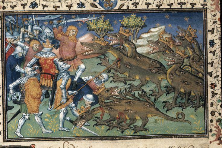 Battle with two-headed dragons   Historia de proelis in a French translation (Le Livre et le vraye hystoire du bon roy Alixandre)   France, Central (Paris)   c. 1420