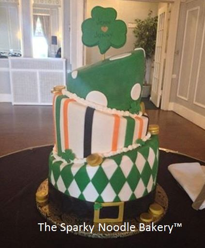 Irish themed wedding cake: Vanilla bean cake with blackberry curd and vanilla fluff filling