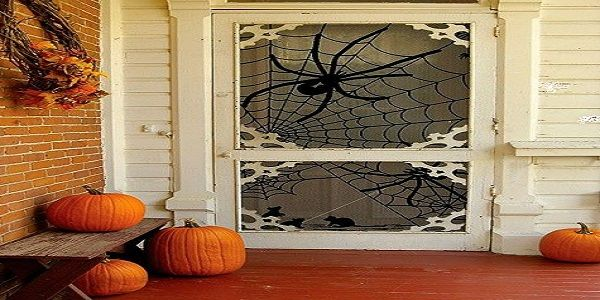 Simple Outdoor Halloween Decoration with Spider Web Front Door