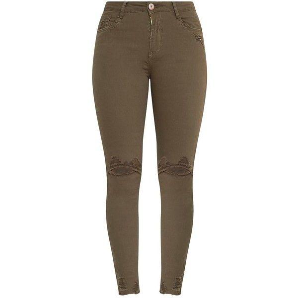 Honesty Khaki Knee Rip Cut Hem Skinny Jean ($40) ❤ liked on Polyvore featuring jeans, skinny leg jeans, skinny jeans, destroyed skinny jeans, distressed skinny jeans and destructed skinny jeans