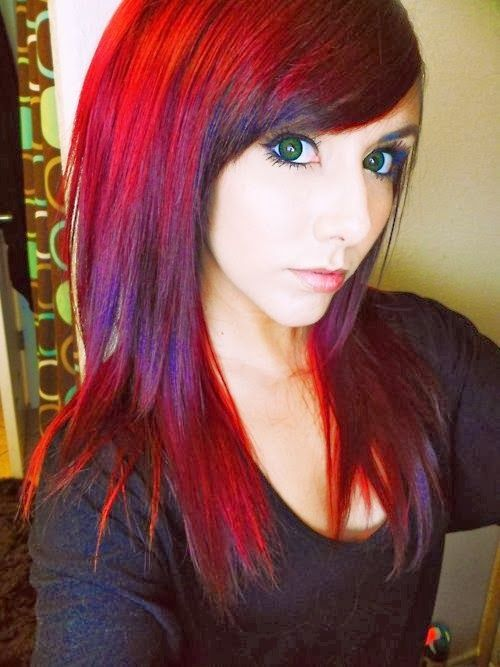 Red purple hair color....