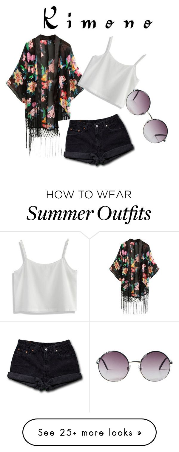 """""""cute summer/spring kimono outfit"""" by victoria-hume on Polyvore featuring Chicwish, Levi's, Monki and kimonos"""