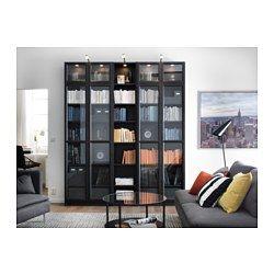 IKEA - BILLY / OXBERG, Bücherregal, schwarzbraun, , Versetzbare Böden für bedarfsangepasste Aufbewahrung.Oberfläche aus Echtholzfurnier.Regale mit geringer Tiefe nutzen den vorhandenen Raum optimal aus - so findet vieles seinen Platz.Durch seitlich und in der Höhe verstellbare Scharniere lassen sich die Türen perfekt justieren.Vitrinentüren sorgen für staubfreie  Aufbewahrung von allem, was man gerne zeigt.