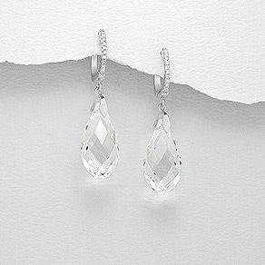 Finder den mega seje og trendy sølv ørering med cz og Swarovski® krystal dråbe hos Norlume.dk
