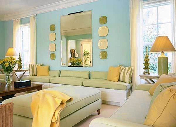 This analogous room contains a light blue yellow green for Room design colour schemes