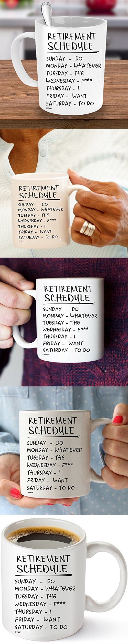 Muggies Retirement Schedule Funny Coffee Tea 11oz. Mug. Unique Cup For Birthday, Mother's & Father's Day, Pension, Christmas Gifts For Mom, Dad, Nana, Papa