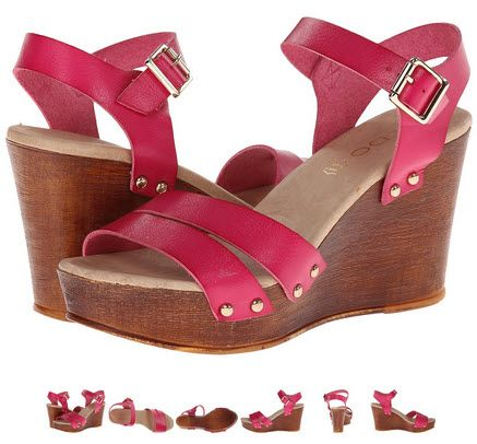 Sandale cu platforma din piele de culoare roz-fucsia. Tintele arata bine, pielea e groasa!